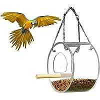 Goolsky Bird Feeder Hanging Parrot Food Feeder Bird Feed Box Outdoor Birdfeeders Waterproof Acrylic Bird Feeding Device