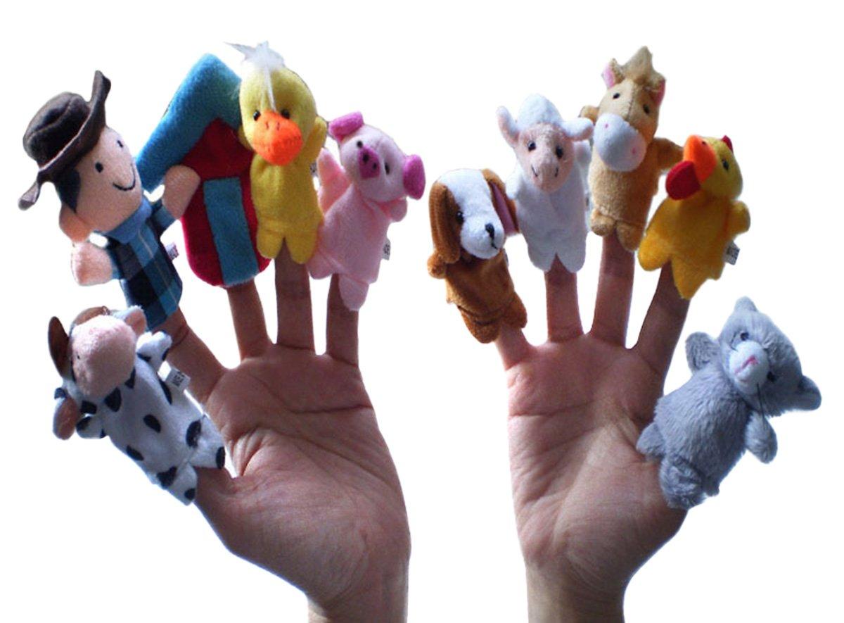 Happy Cherry Kinderlied FingerPuppe Set Niedlich Style Rollenspiele Handpuppe Plüsch Spielzeug für Kinder Frühre Bildung (10 Kasperletheater) Cartoons & Comics