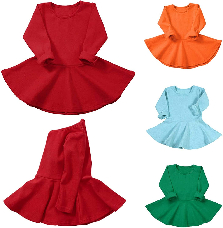 Dress Toddler Kids Long Sleeve Solid Dress Casual O Neck Dresses for Children Princess Dress