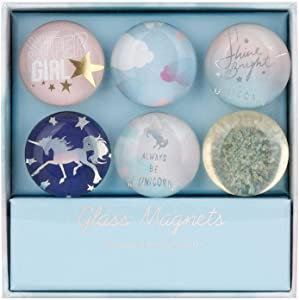 MultiBey Leopard Flower Glass Refrigerator Magnets Stickers Round Shape for Office Cabinets Whiteboards Decorative, 6 in a Box (Colorful Blue)