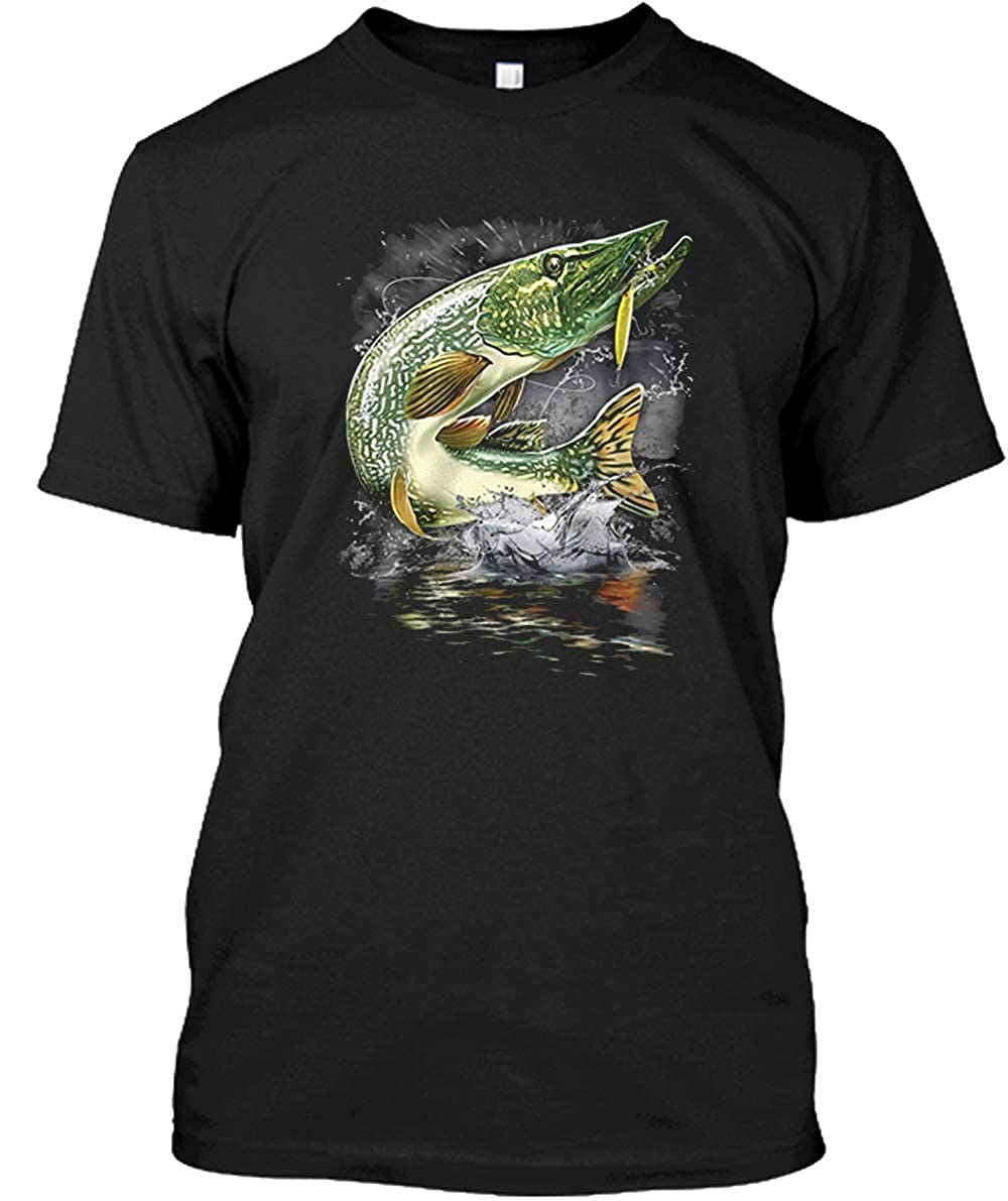 popularshop Pike Northern Pike Blue Pike Jumping Pike Fly Fish Comfort Soft Short Sleeve Shirt CRSPSHMD