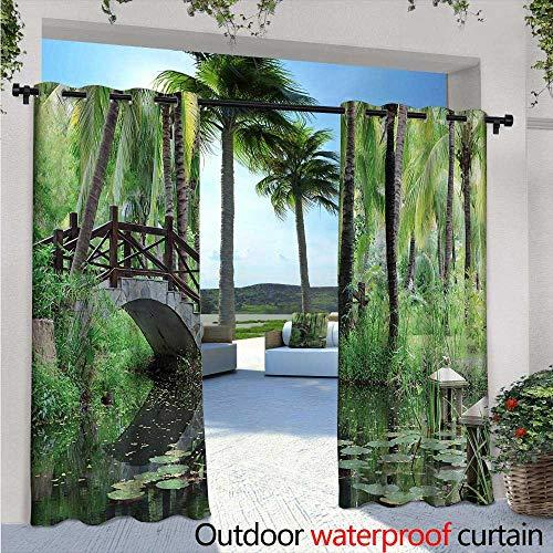 Zen Garden Outdoor- Free Standing Outdoor Privacy Curtain W84