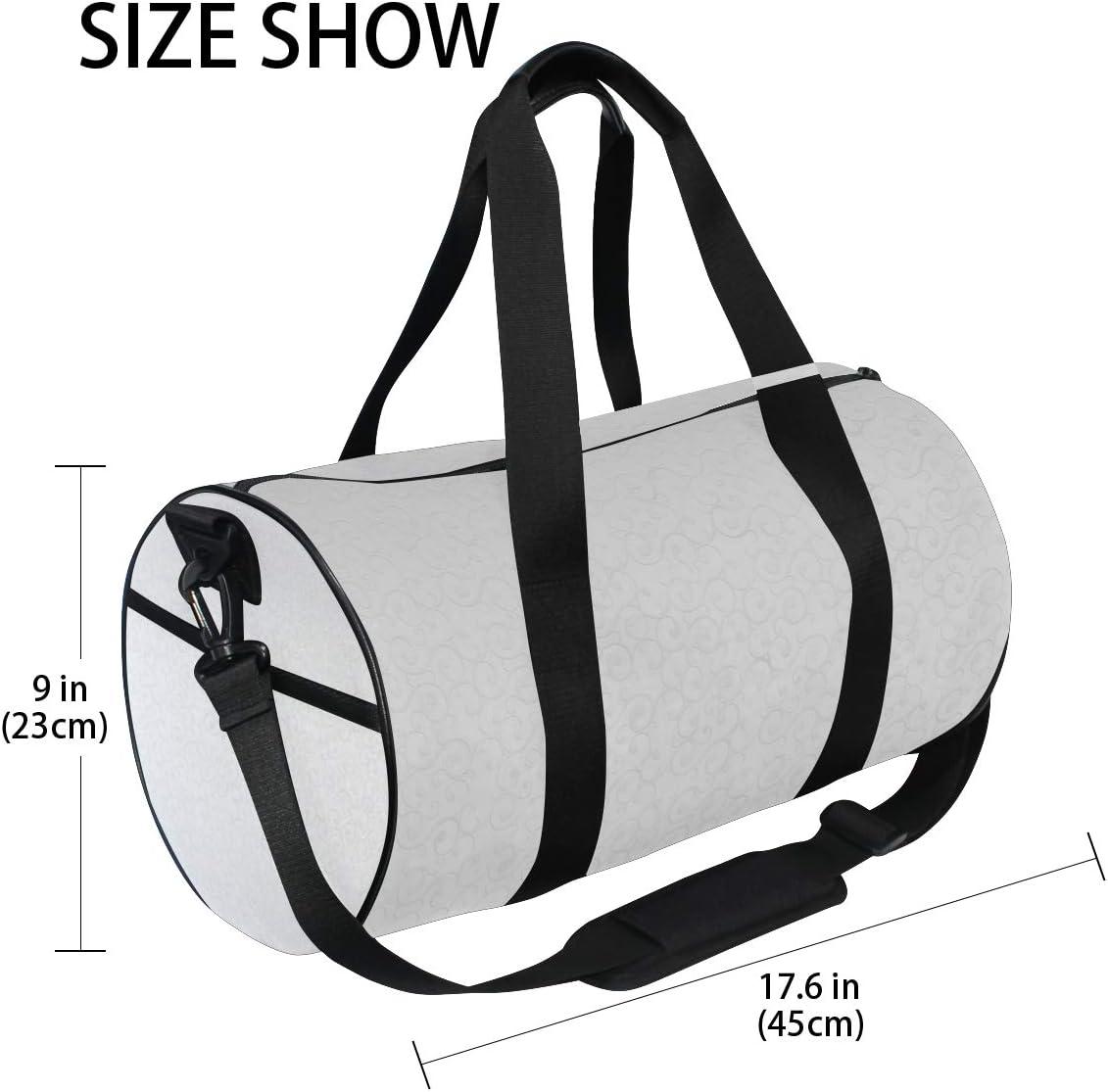 MALPLENA Retro Noble Special Flowers White Picture Drum gym duffel bag women Travel Bag