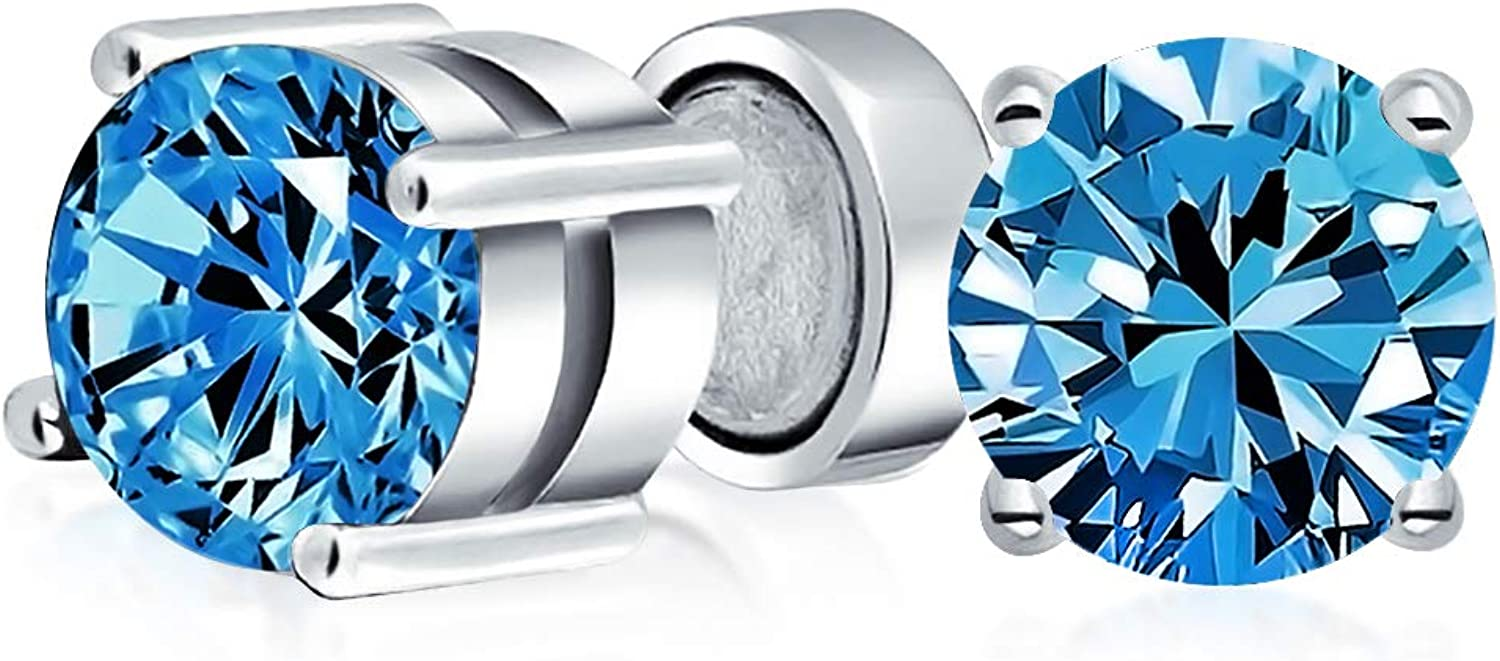 Round Cubic Zirconia AAA CZ Brilliant Cut Solitaire Magnetic Clip On Stud Earrings Sterling Silver Simulated Gemstones