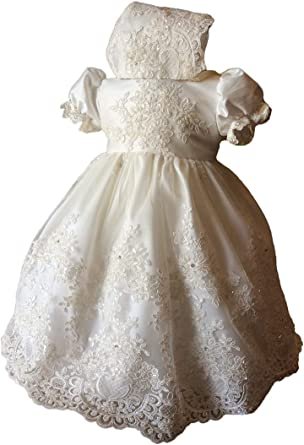 Faithclover Christening Baptism Dresses Baby Girls Floral Lace Gowns Outfit with Bonnet