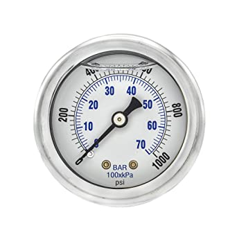 Brass Internals PIC Gauge 101D-208F-GL 2 Dial 1//8 Male NPT Connection Size 0//160 psi Range Chrome Bezel and Glass Lens Bottom Mount Dry Pressure Gauge with a Black Steel Case