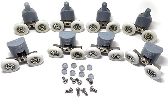Rodamientos dobles para mamparas de ducha, 25 mm de diámetro, piezas de repuesto para ruedas de baño, 8 unidades, CY-903AB: Amazon.es: Bricolaje y herramientas