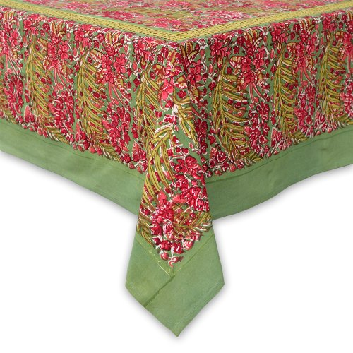 Couleur Nature Bougainvillea Tablecloth, 90-inches by 90-inches, Green/Red by Couleur Nature