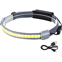 Hi-Beam Work Light Headband,Portable Broadbeam Led Headlamp,Lightweight Waterproof Rechargeable,with Elastic Headband…