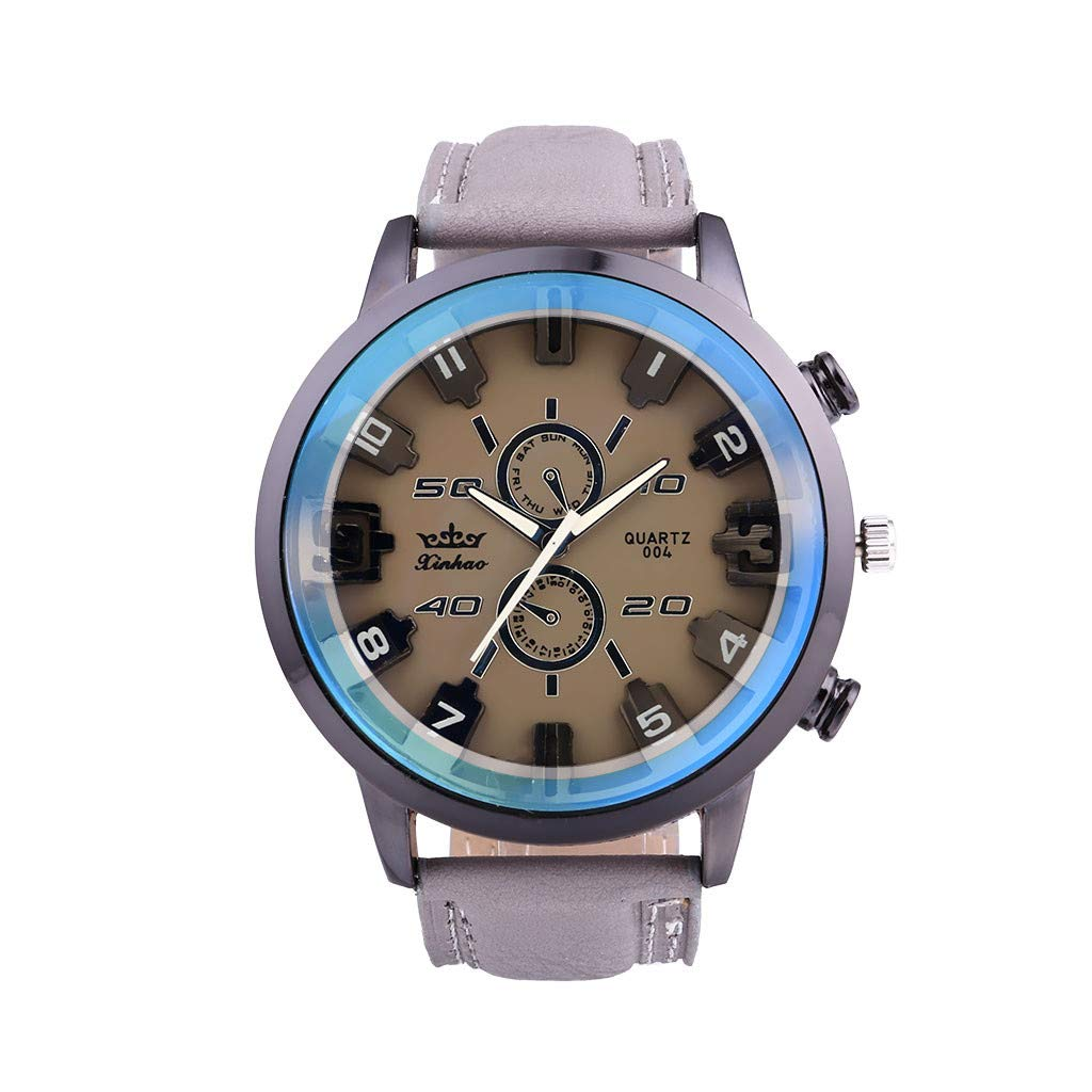 Amazon.com : XBKPLO Mens Quartz Watch, Retro Sport Luxury Large Dial Analog Mechanical Wrist Watches Leather Strap Fashion Jewelry Gift : Pet Supplies