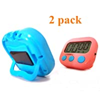 Kitchen Timer Digital Cooking Timers Clock, ON/OFF Simple Operation, Big Digits, Loud Alarm, Magnetic Backing Stand, Countdown Up Minute Second Timers for Kids Games Exercise Office, Blue, Pink(2Pack)