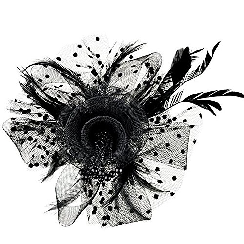 Fascinators Hat For Women, Hot Sale Flower Mesh Ribbons Feathers Headband Tea Party Headwear for Girls YOcheerful]()