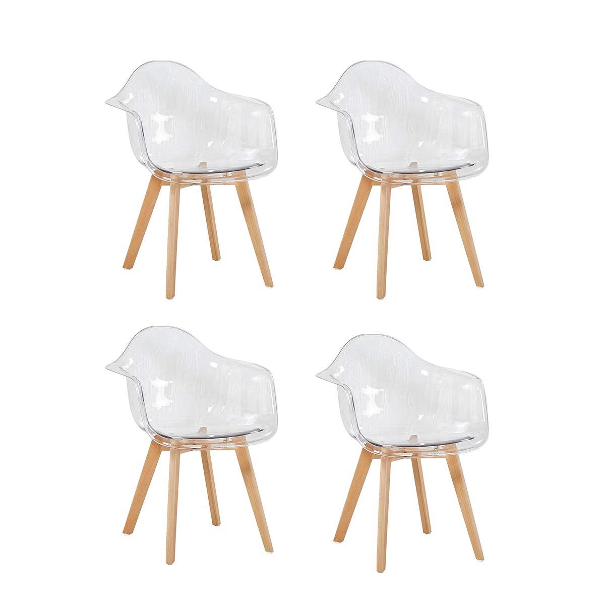 Set di 4 sedia da ufficio sedie trasparente poltrona sedia for Sedie di marca
