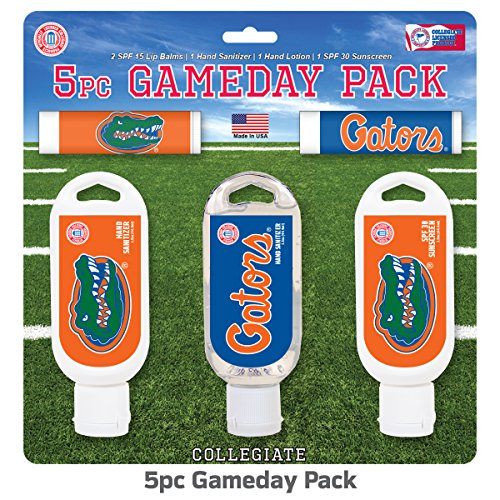 (Worthy Promo NCAA Florida Gators 5-Piece Game Day Pack with 2 Lip Balms, 1 Hand Lotion, 1 Hand Sanitizer, 1 SPF 30 Sport Sunscreen)