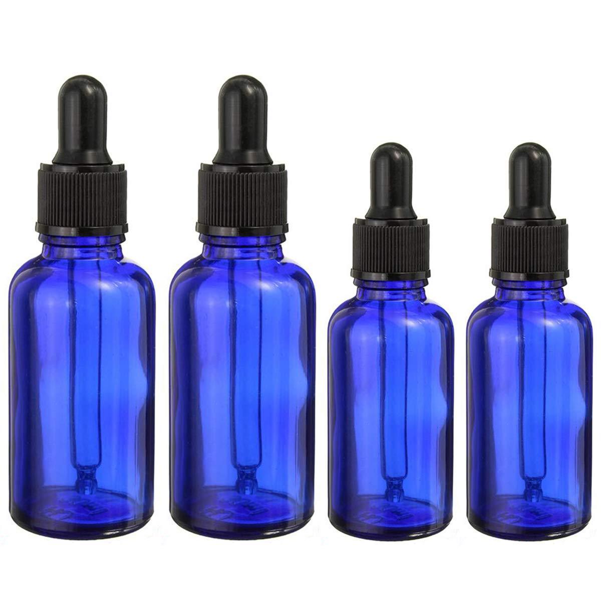 BlueXP 4 Stück 10ml 20ml Leer Kobaltblauen Glasaugentropfflasche Boston Round Flaschen mit Tropfer Pipetten für ätherische Öle Parfüms Laborchemikalien Reagenzien Pharmazeutika
