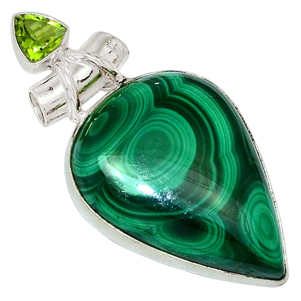Xtremegems Bulls Eye Malachite /& Peridot 925 Sterling Silver Pendant Jewelry 1 3//4 28184P