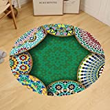 Gzhihine Custom round floor mat Moroccan Decor Oriental Motif with Mix of Hippie Retro Circle Morocco Mosaic Lines Sacred Holy Design Bedroom Living Room Dorm Multi