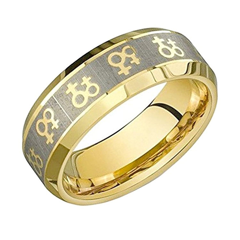 gold female symbols lesbian pride steel ring steel ring band