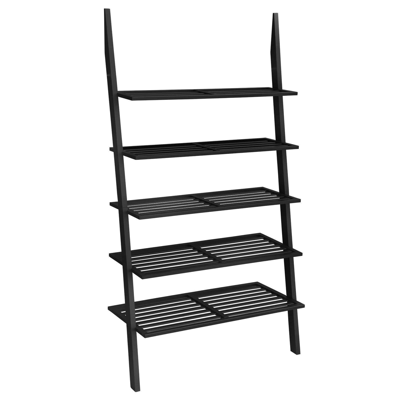 VASAGLE 5-Tier Ladder Shelf, Bamboo Bookshelf and Plant Stand, Spacious Storage for Living Room Bedroom Balcony, Black ULLS15BK by VASAGLE