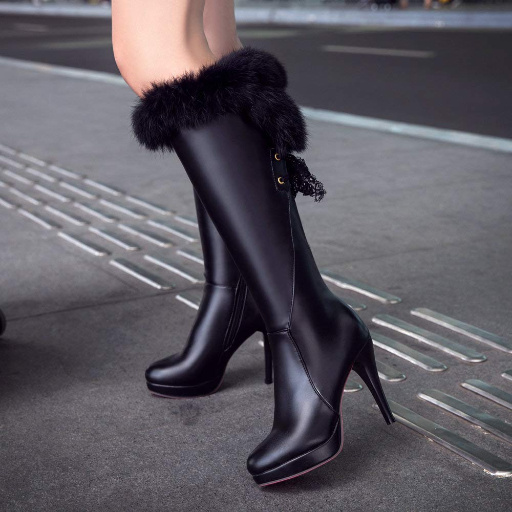 AnMengXinLing Fashion Knee Boot High Boot Knee Women Stiletto High Heel Leather Pointed Toe Platform Sexy Dress Fur Snow Booties Winter B07GTSPS3L Bootie 01d92a