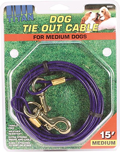 Coastal Pet Products DCP89051 Titan Dog Medium Tie Out Cable, 15-Feet