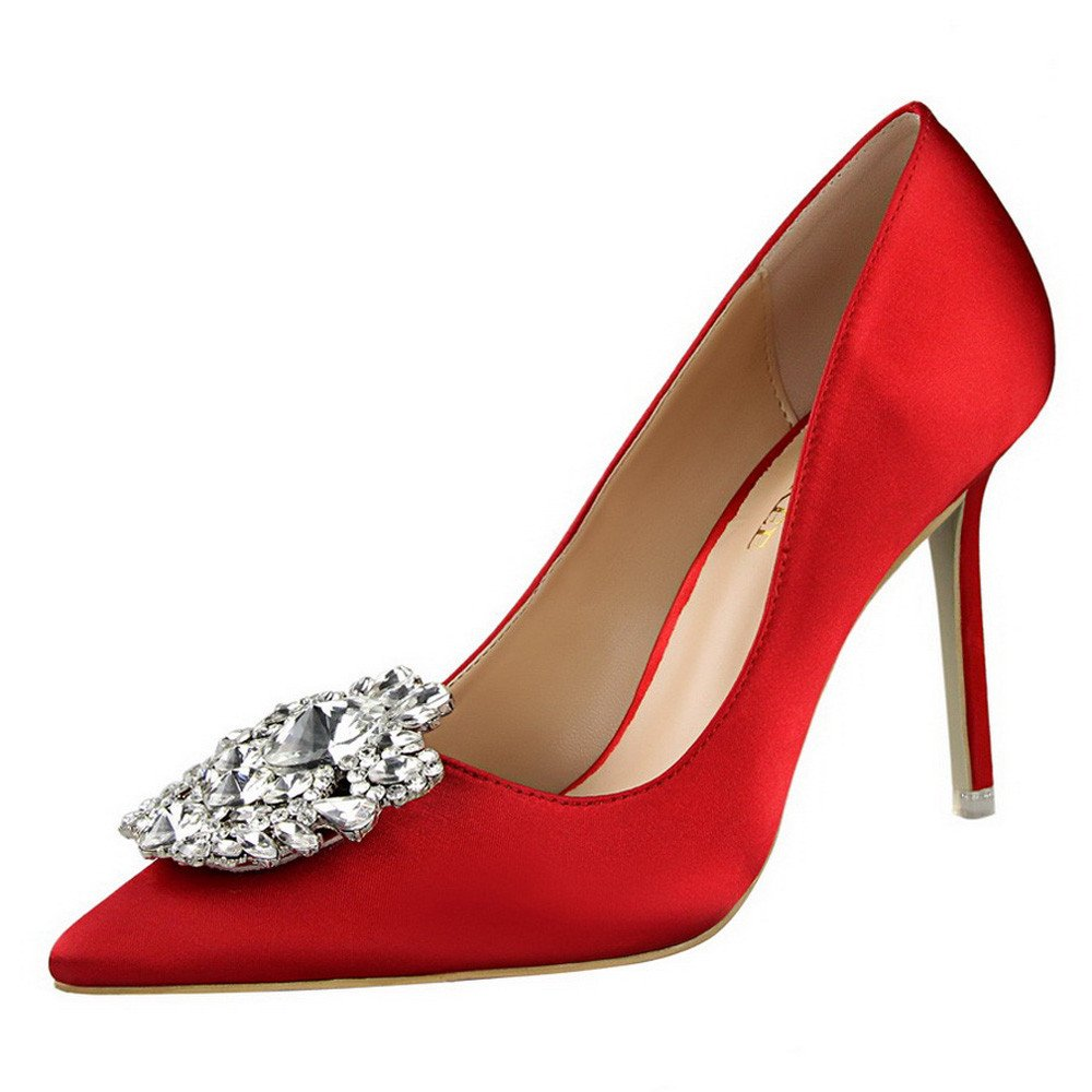 【MOHOLL】 Womens High Heel Stiletto Sandals Slip On Open Toe Side Cutout D'Orsay Dress Shoes Red