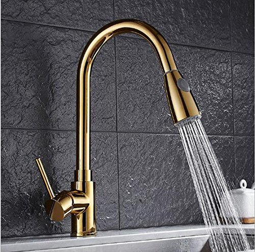 2 YAWEDA Pull Out Kitchen Faucet gold Chrome Nickel Black Sink Mixer Tap 360 Degree redation Kitchen Mixer Taps Kitchen Tap,1