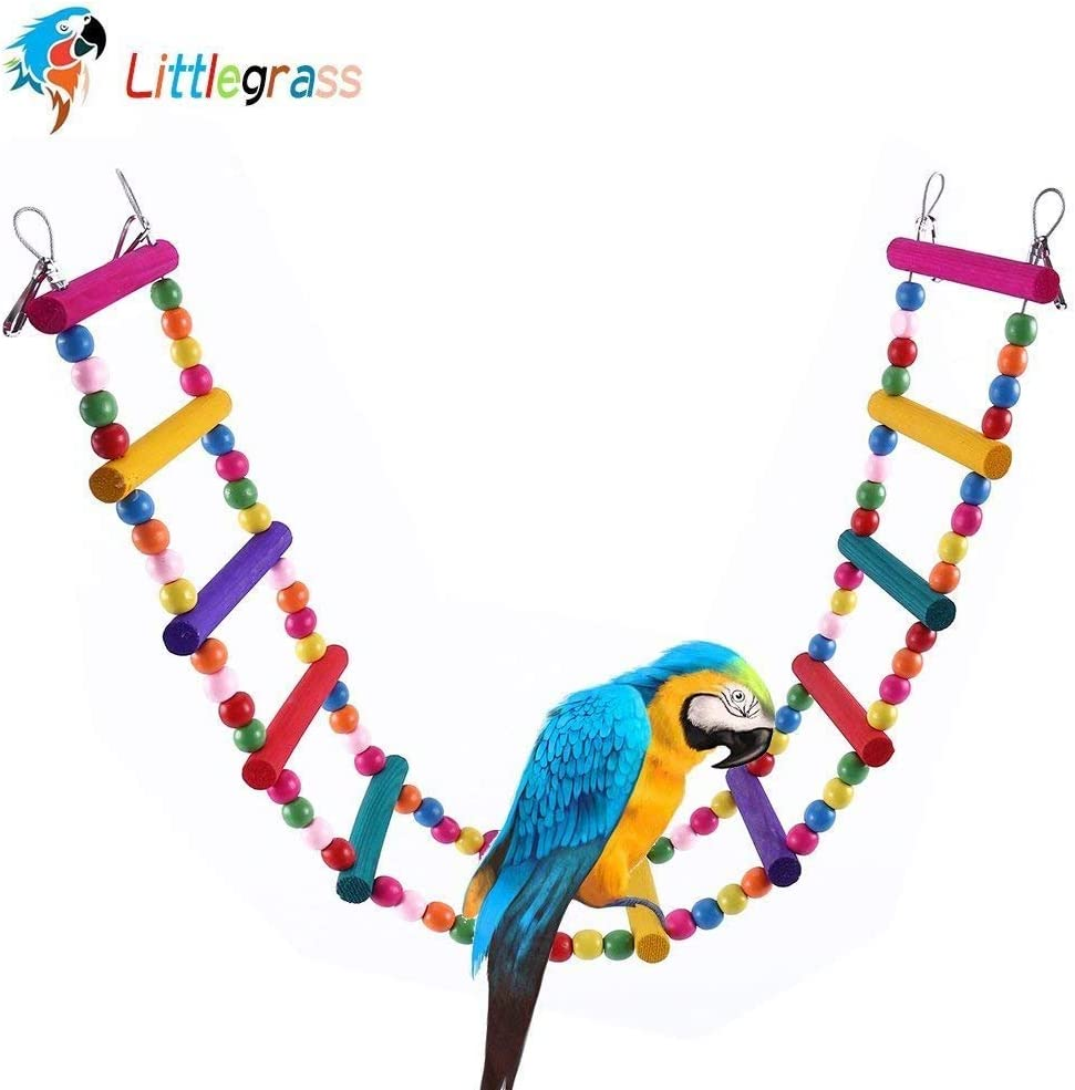 Tfwadmx Parrot Cage Ladder Bridge Toys Hanging Colored Swing Raw Wood and Edible Dye Training Playing Flexible Cage Accessories Decoration for Small to Medium Birds Parakeet Cockatiels Pigeon