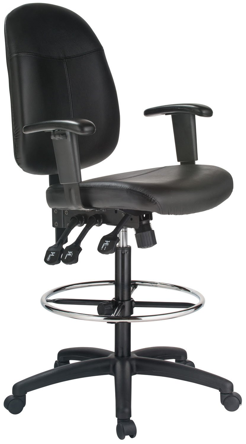 Extra Tall Ergonomic Leather Drafting Chair Black/Black
