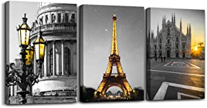 Black and white Architectural landscape Canvas Wall Art for Living Room kitchen Wall Artworks Bedroom Decoration, 3 Piece framed bathroom Home Wall decor posters Yellow Eiffel Tower wall painting