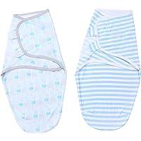 Morelian insular Baby Swaddle Wrap Blanket 2 Pack Soft Cotton Cartoon Pattern Adjustable Infant Sleeping Blankets