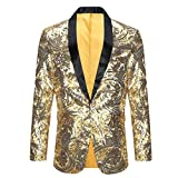 PYJTRL Men's Pink Gold Flower Pattern Wedding Groom Singer Sequins Suit Jacket