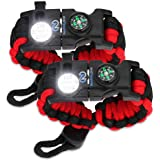 Survival Paracord Bracelet - Tactical Emergency Gear Kit with SOS LED Light, Knife, 550 Grade, Adjustable, Multitools, Fire S