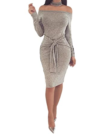4c73e756efff0 Boutiquefeel Womens Off Shoulder Solid Knot Front Long Sleeve Bodycon Dress  Grey M: Amazon.co.uk: Clothing