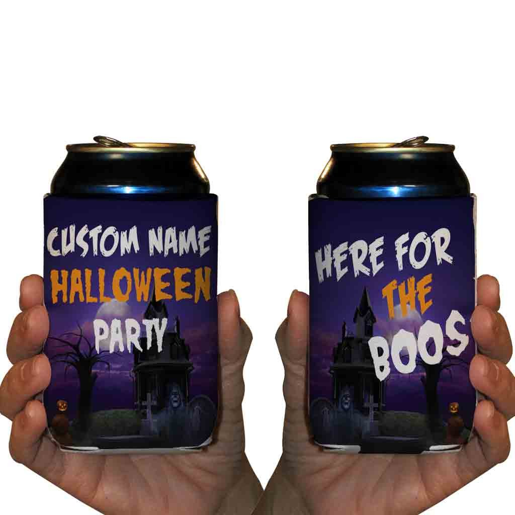 Custom Halloween Party Can Cooler- Here For The Boos Can Cooler (48)