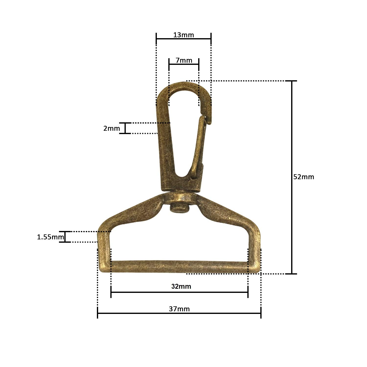 Hanging Item 25mm, Bronze, 1pc Purse Bag Accessories WedDecor Lobster Claps Hook Swivel Claw Clip Snap Buckle Fastener for Keychain Backpack Straps