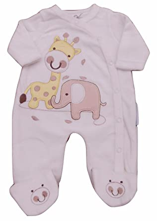 519b092ee with Tags Baby Unisex Elephant Velour Sleepsuit Tiny Baby Newborn 0 ...