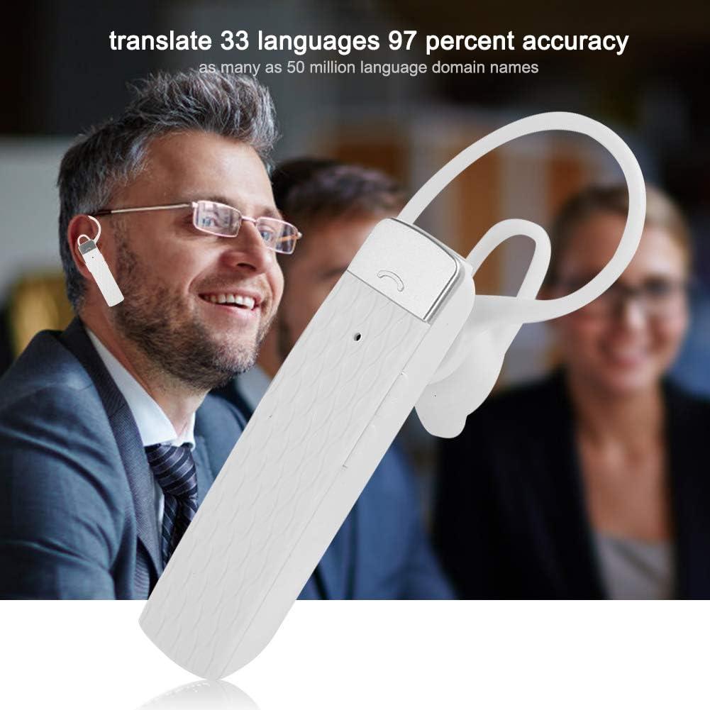 White Negocios Auricular de traducci/ón Bluetooth T2 Dispositivo de traducci/ón de Idiomas Auriculares inal/ámbricos port/átiles con traductor de 33 Idiomas en Tiempo Real para Viajes
