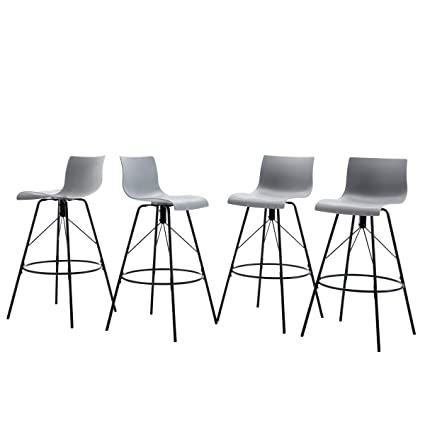 Stackable Dining Chair HAOBO Home Modern Industrial Metal Bar Stool Counter Height Stools Set of 4 24, Low Back White Wooden Seat