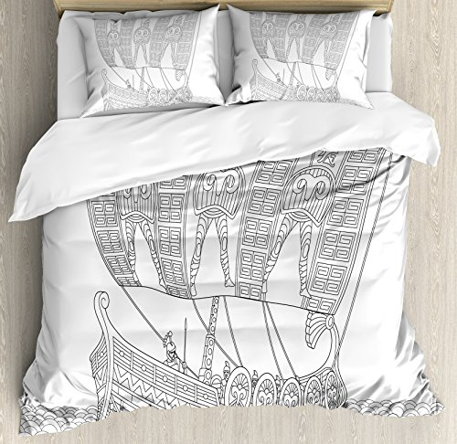 Ambesonne Toga Party Duvet Cover Set King Size  Stylized Ancient Greek Galley Cruising On Swirled Waves Doodle Illustration  Decorative 3 Piece Bedding Set With 2 Pillow Shams  Black White