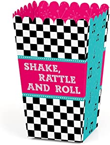 50's Sock Hop - 1950s Rock N Roll Party Favor Popcorn Treat Boxes - Set of 12