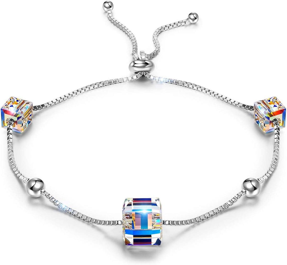 ANGEL NINA Joyería para Ella, Mujer Vida Colorida Pulsera para Mujer Plata 925 Con Cristales de Swarovski Cubic Colorido, Pulsera Hipoalergénicos, Elegante Caja de Joyas