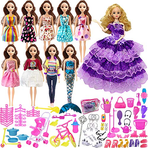 bie Doll Clothes Set Include 10 Pack Barbie Clothes Party Grown Outfits And Randomly 108pcs Different Barbie Doll Accessories, with 1 Bag ()