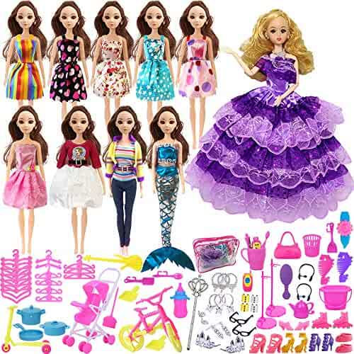 HOLICOLOR 119pcs Doll Clothes Set for Barbie Dolls Include 10 Pack Clothes Party Grown Outfits and 108pcs Different Doll Accessories, with a Bag