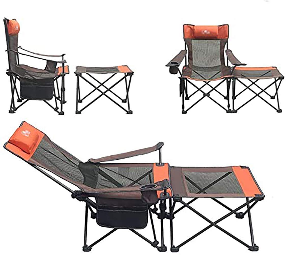 Utomhusstrandstolar, hopfällbara lunchbord och stolar, stolar, hängstolar med dubbla syften avtagbart kit för fiske ryggstolar Orange Grått