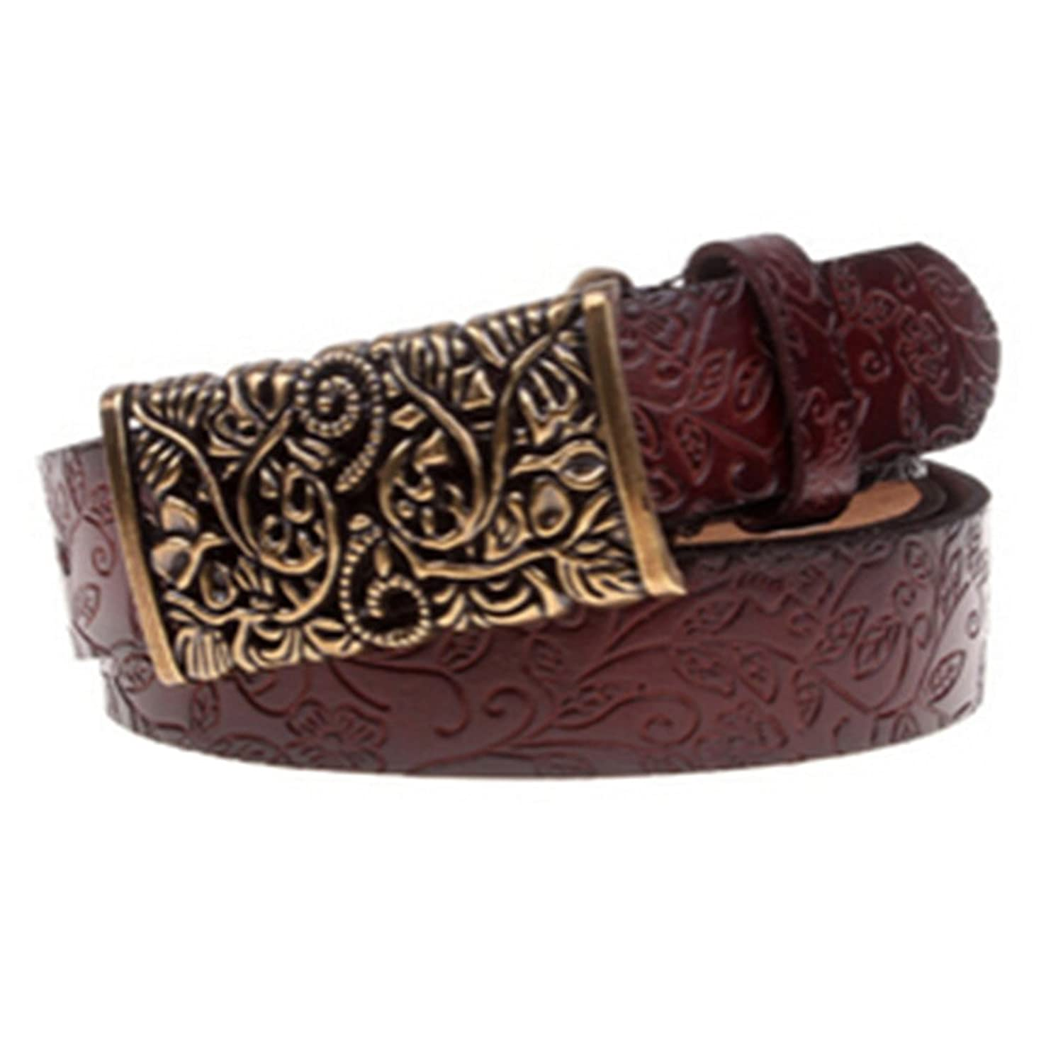 Women Leather Belts All-match Metal Buckle Vintage Carved Belts