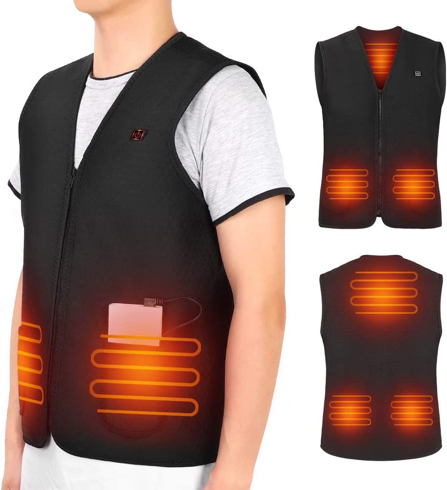 USB Heated Vest for Men Women, 5V Electric Heating Vest, Washable Heated Jacket Body Warmer for Cold Winter Outdoor Activities Hunting Camping Hiking Skiing (No Battery)