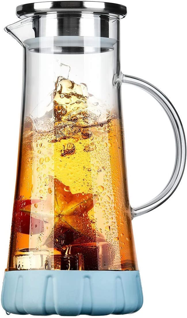 Drip-Free Water Pitcher With Tight Lid and Pretty Brush SmartHom 75 Ounces Glass Pitcher
