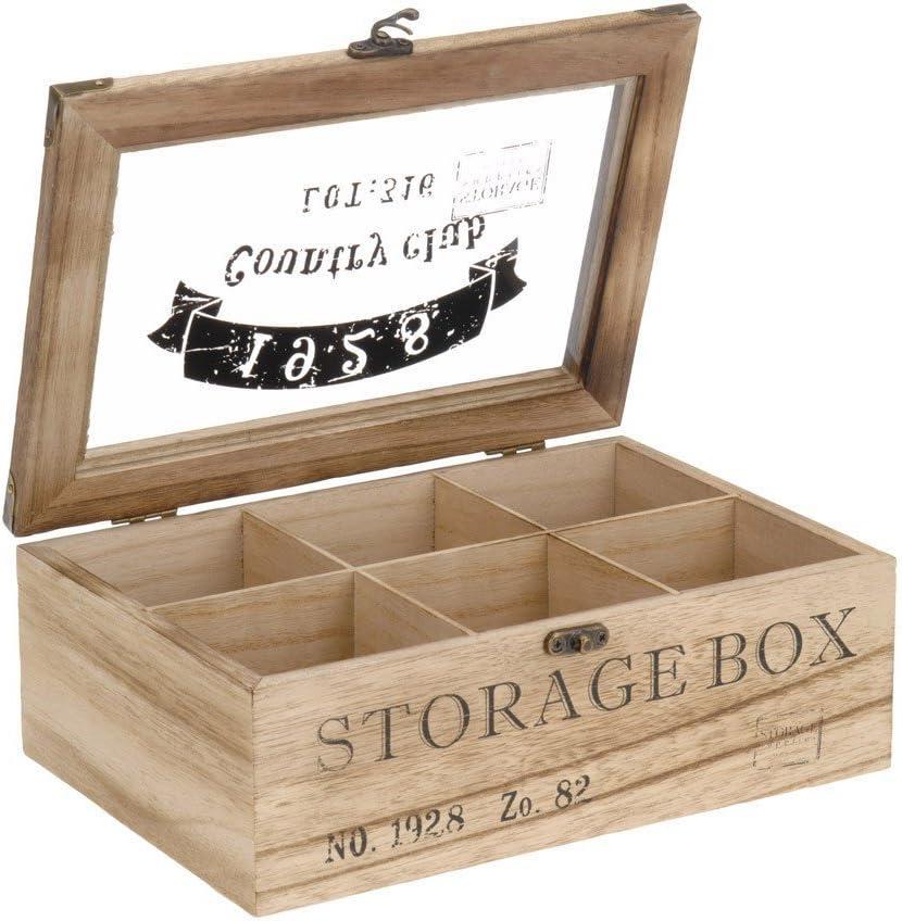 ToCi – Caja para té de madera en estilo rústico con 6 o 9 ...