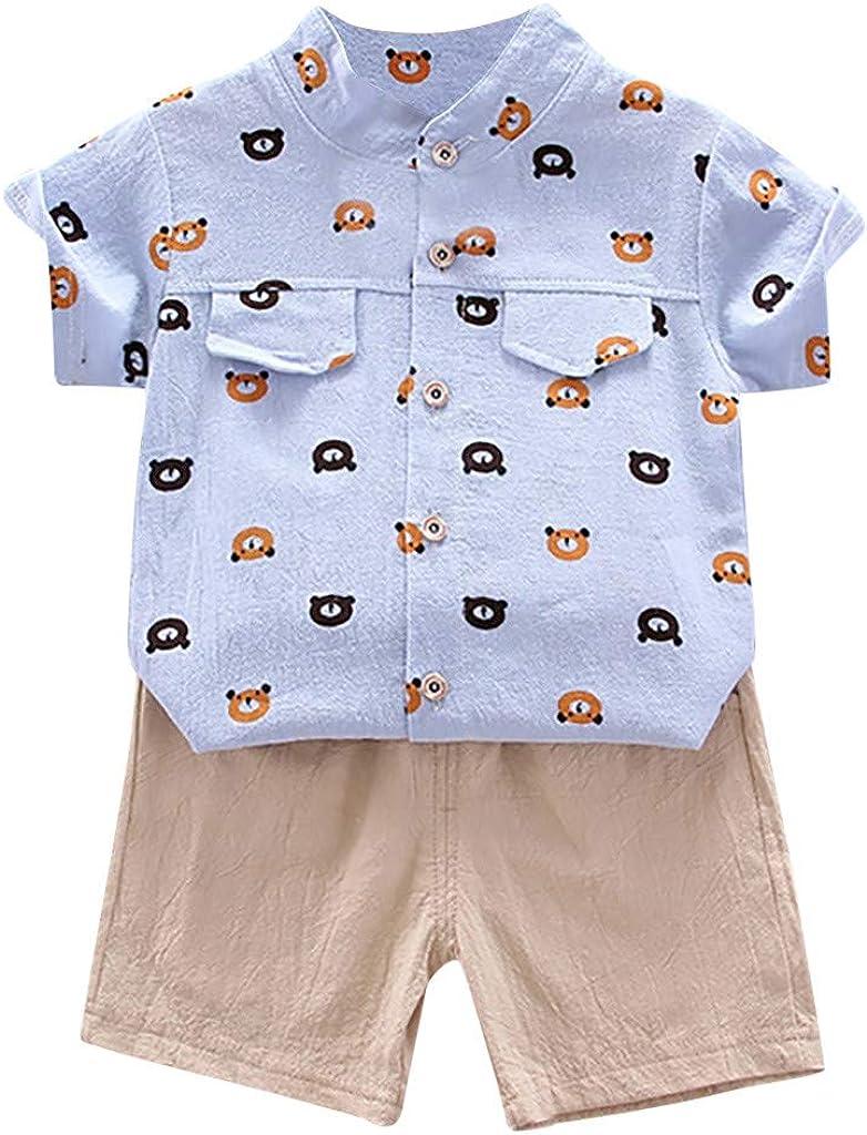 TTLOVE/_Baby Kleinkind Jungen Bekleidungsset 12 Monate-4 Jahre Jungen Sommer Kleidung Kinder Jungen Kurzarm Cartoon Auto Gentleman Shirt Tops mit coolen Denim Shorts Anzug Kleidung Set